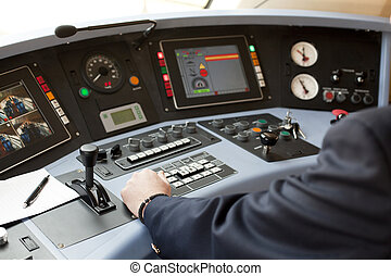 railroad engineer - Railroad engineer driving the train