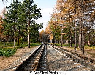 Railroad for kids in Chelyabinsk park