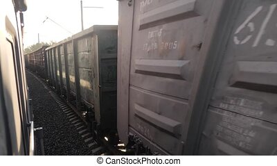 Railroad freight railroad car cars train ride on rails near...