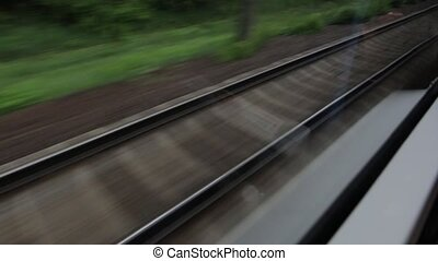 Railroad From The High Speed Train Window - The railroad...