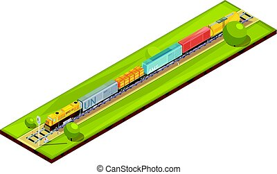 Railroad Haul Isometric Composition