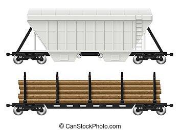 Railroad hopper and log cars vector illustration