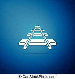 Railroad icon isolated on blue background. Flat design. Vector Illustration