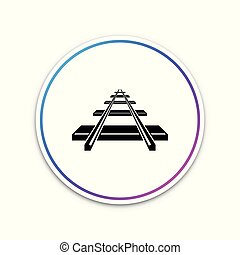 Railroad icon isolated on white background. Circle white button. Vector Illustration