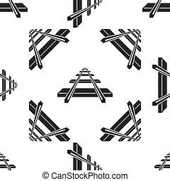 Railroad icon seamless pattern on white background. Flat design. Vector Illustration