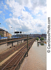 Railroad in center of Stockholm city.