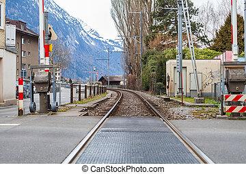 Railroad in the alps, Switzerland
