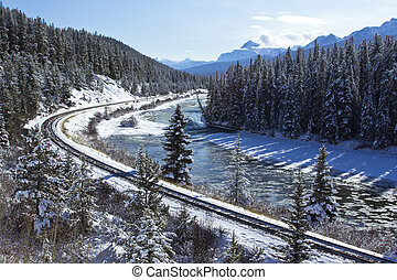Railroad in the Rockies - Railway line through the winter ...