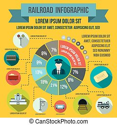 Railroad infographic elements, flat style