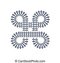 Railroad intersection, rail track, train bridge road. Vector curve map, railway junction symbol.