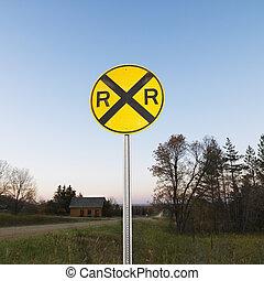 railroad kereszteződnek, cégtábla.