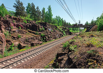 Railroad laid in the rocks of the canyon gorge.
