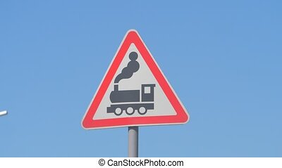 Railroad Level Crossing Sign without barrier or gate ahead ...
