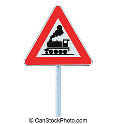 Railroad Level Crossing Sign without barrier or gate ahead