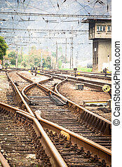 Railroad metal track with track bed - View of railroad metal...