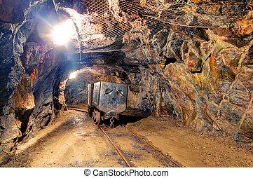 Railroad mine tunnel in a dark underground