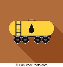 Railroad oil tank icon, flat style