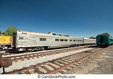 Railroad passenger car, called an observation car, for...