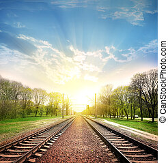Railroad - Railway tracks in a rural scene with nice pastel...