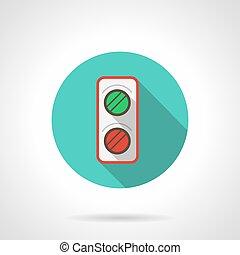 Railroad semaphore blue round vector icon