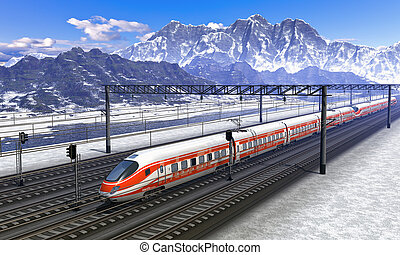 Railroad station in mountains with high speed train - Red...