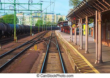 Railroad station in Sweden