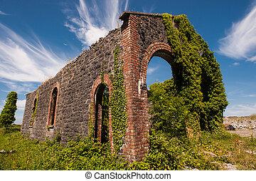 Railroad station ruins - Old abandoned railroad station ...