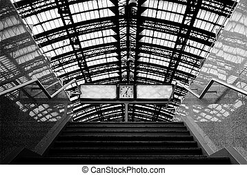 Railroad station - Stairs and clock on railroad station in ...