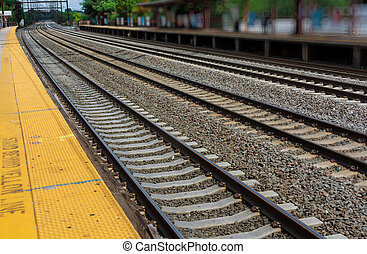 Railroad station tracks cargo platform trains