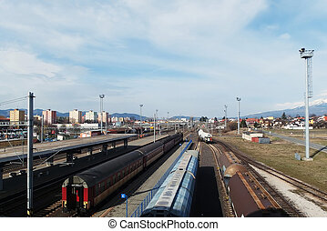 Railroad Station with cargo and passenger trains