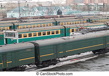 railroad station with many carriages