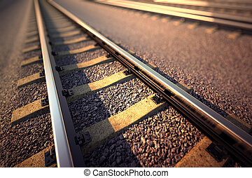 Railroad straight track. - Close up of empty straight ...