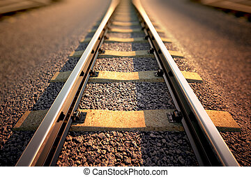 Railroad straight track. - Close up on part of railroad ...