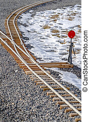 Railroad switch on a railroad junction in winter