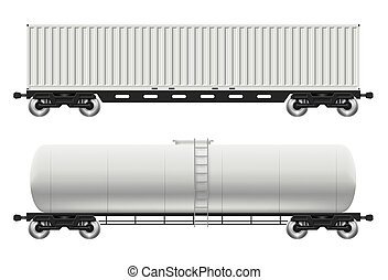 Railroad tank and container cars vector illustration