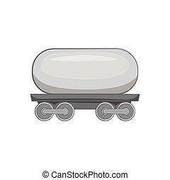 Railroad tank wagon icon, black monochrome style