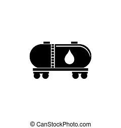 Railroad Tank Wagon, Oil Railway Cistern Flat Vector Icon