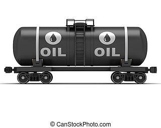Railroad tank wagon on a white background.