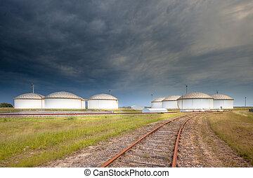 Railroad to an oil tank terminal - Railroad leading to a...