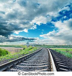 railroad to horizon under dramatic sky