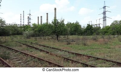 Railroad to the thermal station - Railroad tracks with an...
