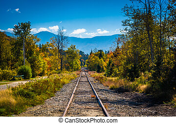 Railroad track and distant mountains seen in White Mountain ...