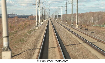 Railroad track at high speed POV