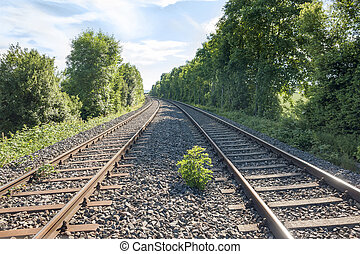 railroad track at spring time in Southern Germany
