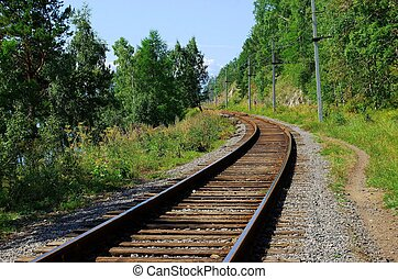 Railroad track - Circum-Baikal railroad on the coast of Lake...