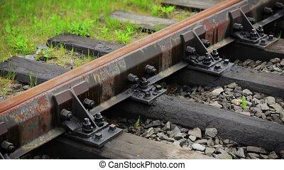 Railroad Track in Russian Rural Area - FullHD video - Steel...