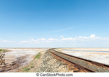Railroad track in the desert