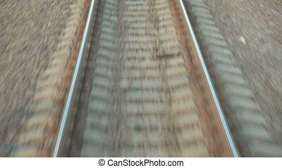 Railroad Track Moving At High Speed Closeup