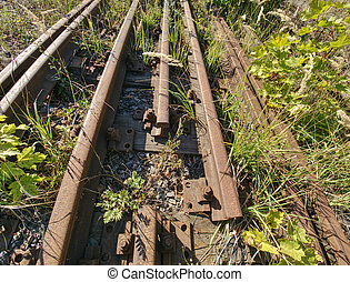 Close view of railroad track old fashioned rusty clamps and screws wooden railroad.