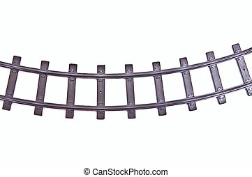 Railroad track - Old model railroad track. Isolated on pure...